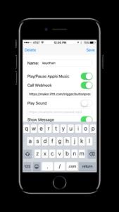 Button Magic screenshot call IFTTT webhook
