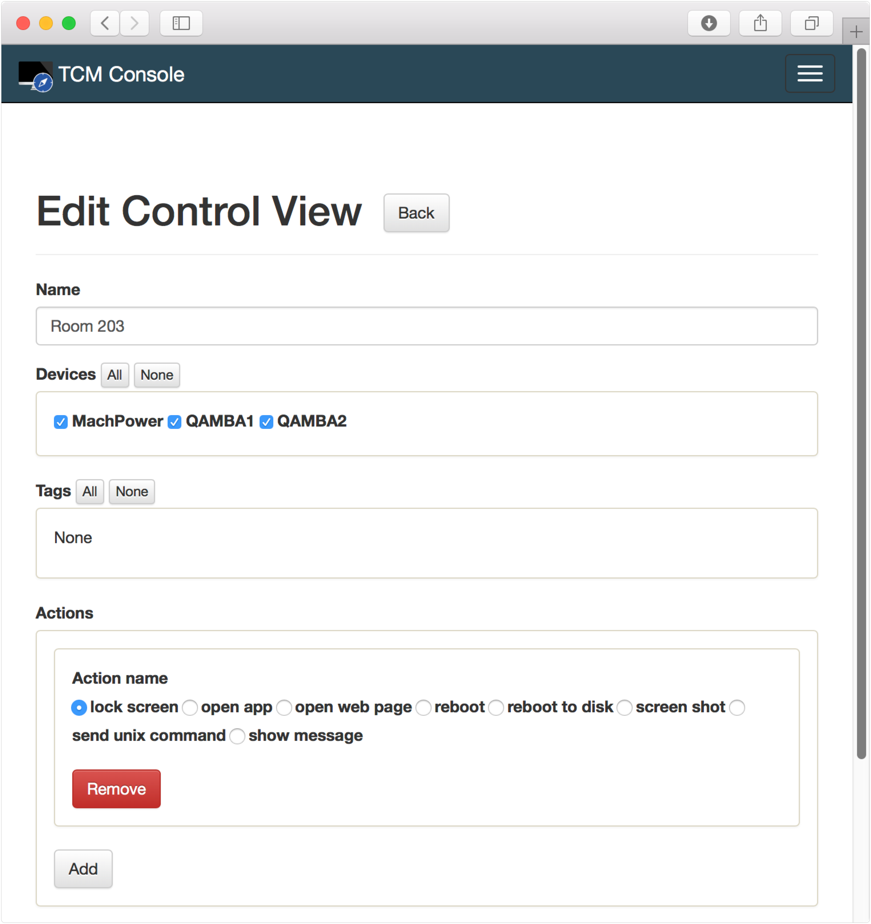Configuring a Control View