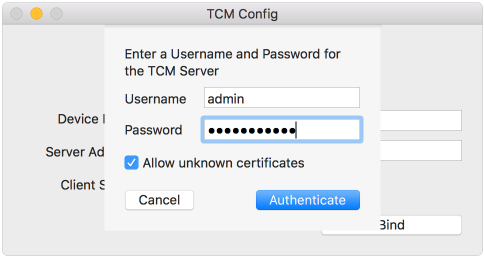 TCM Config Authentication