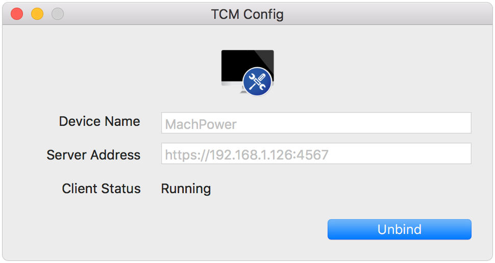 TCM Config with Client Running