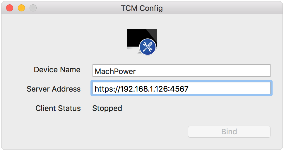 TCM Config with Client Stopped