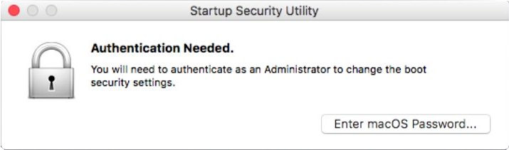 Startup Security Utility authentication needed