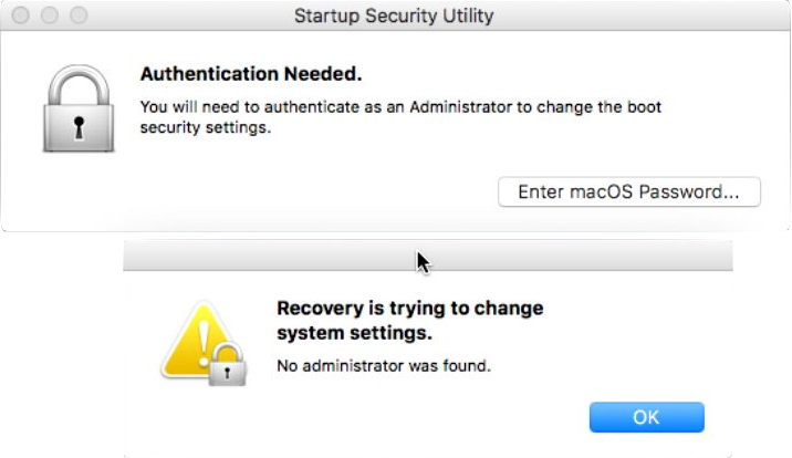 Startup Security Utility no administrator was found