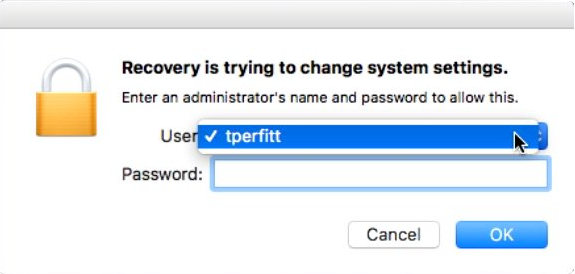 Startup Security Utility user and password