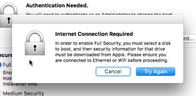 Internet Connection Required Dialog