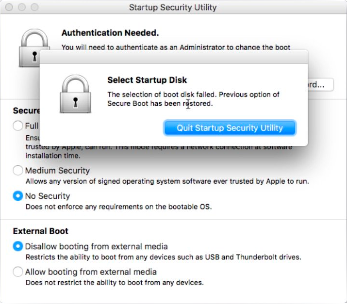 Quit Startup Security Utility Dialog