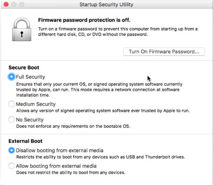Screenshot of Startup Security Utility