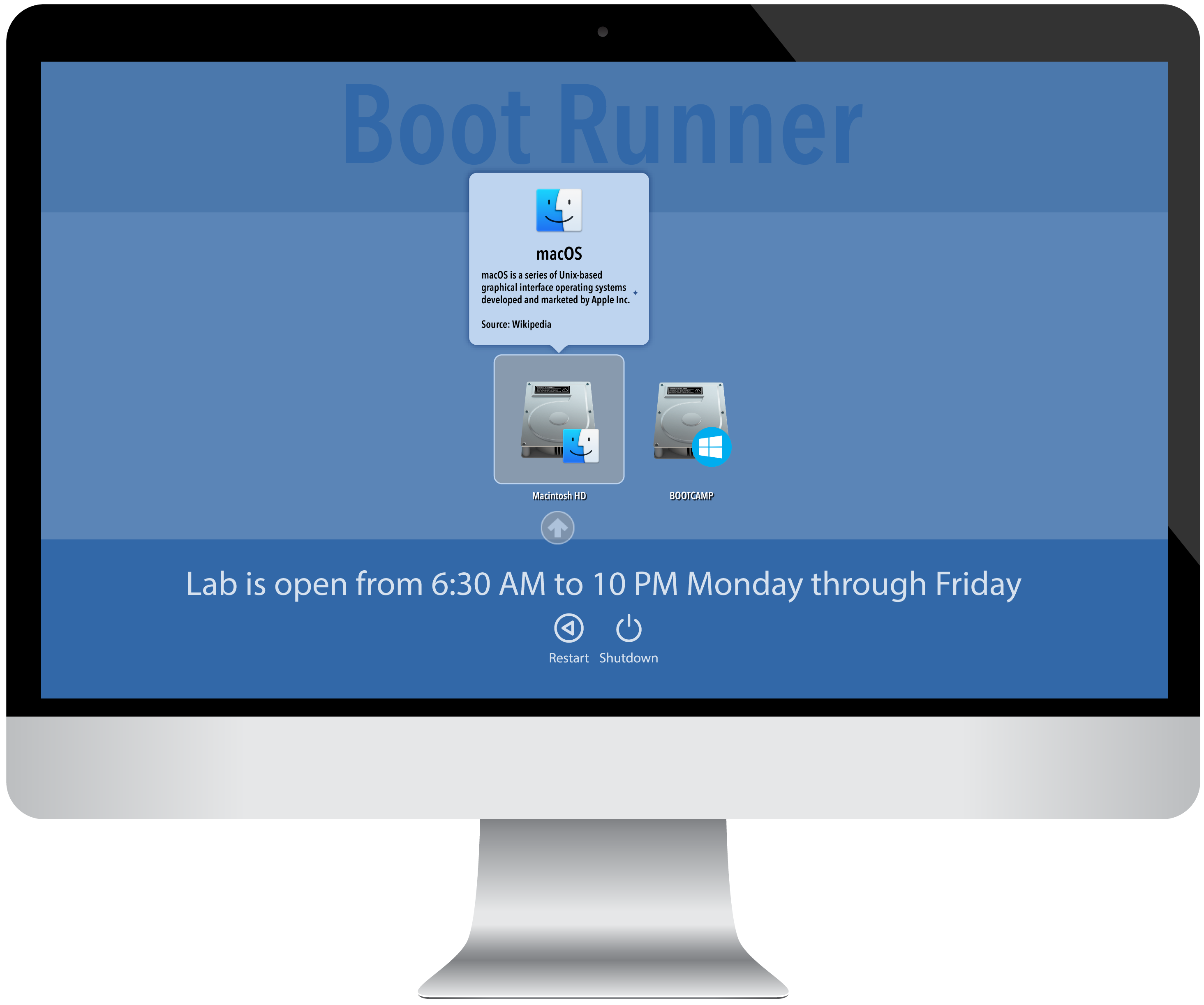 Boot Runner | Twocanoes Software | Manages Boot Camp startup